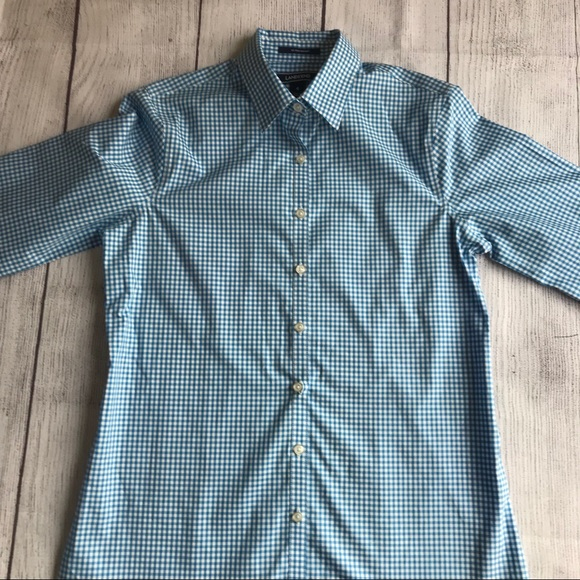 NWT Lands End 3/4 Sleeve Gingham Blouse